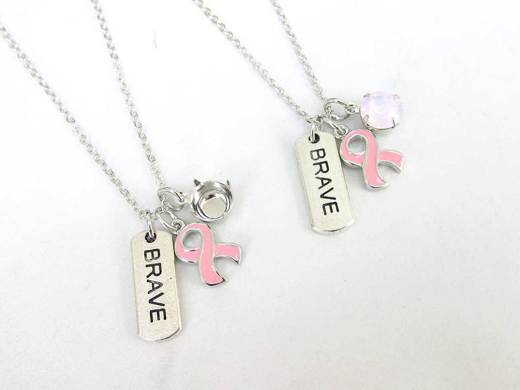 8.5mm | Breast Cancer Awareness Ribbon & Brave Charm Necklace | One Piece