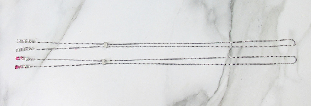 6mm | Three Setting Drop Adjustable Slider Necklace | One Piece
