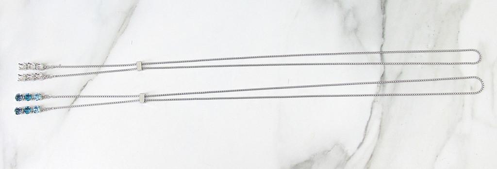 8.5mm | Three Setting Drop Adjustable Slider Necklace | One Piece