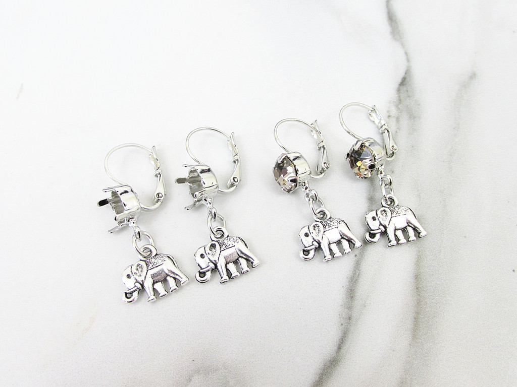 8.5mm | One Setting Drop & Elephant Charm Earring | One Pair