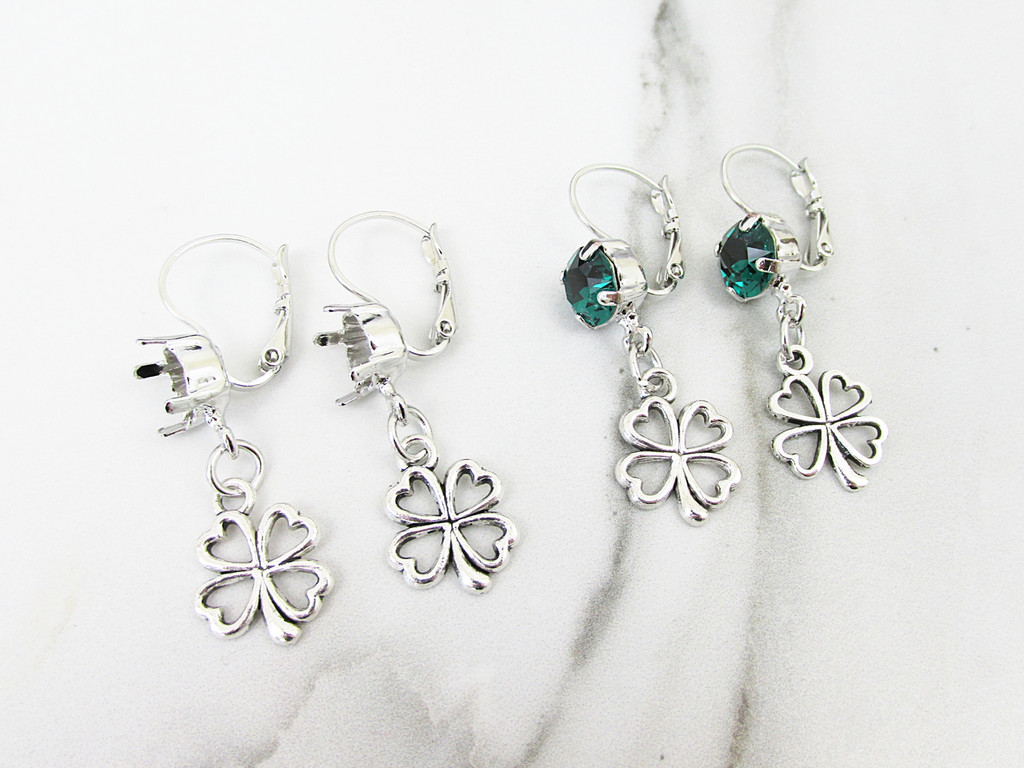 8.5mm | One Setting Drop & Four Leaf Clover Charm Earring | One Pair