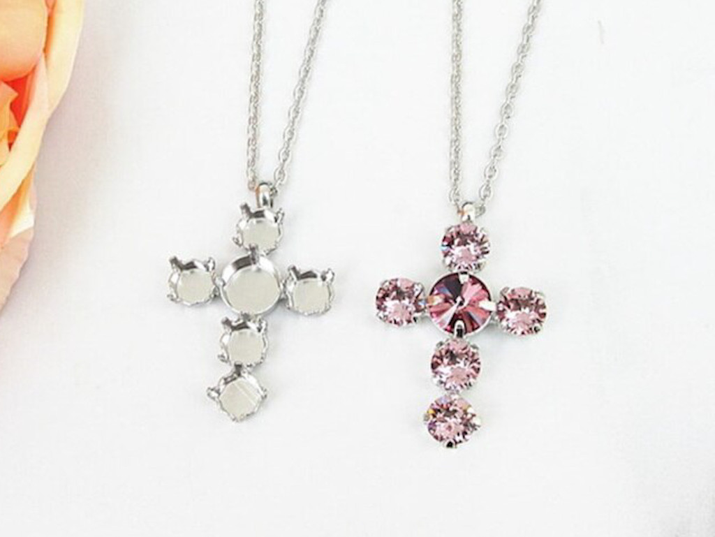 8.5mm & 11mm | Cross Pendant Long 30 Inch Necklace | One Piece