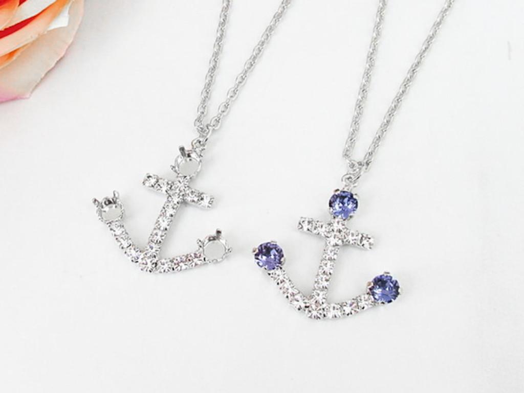 6mm | Anchor Crystal Rhinestone Long 30 Inch Necklace | One Piece