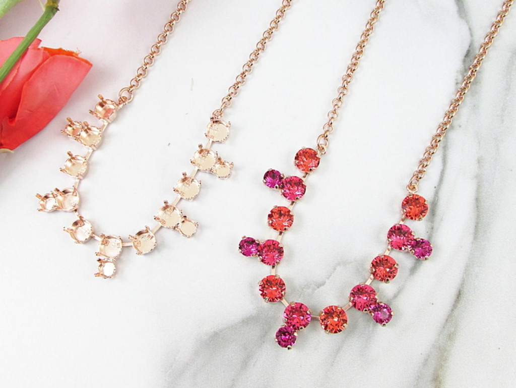 8.5mm & 6mm | Symmetrical Drop 16 Setting Necklace | Three Pieces