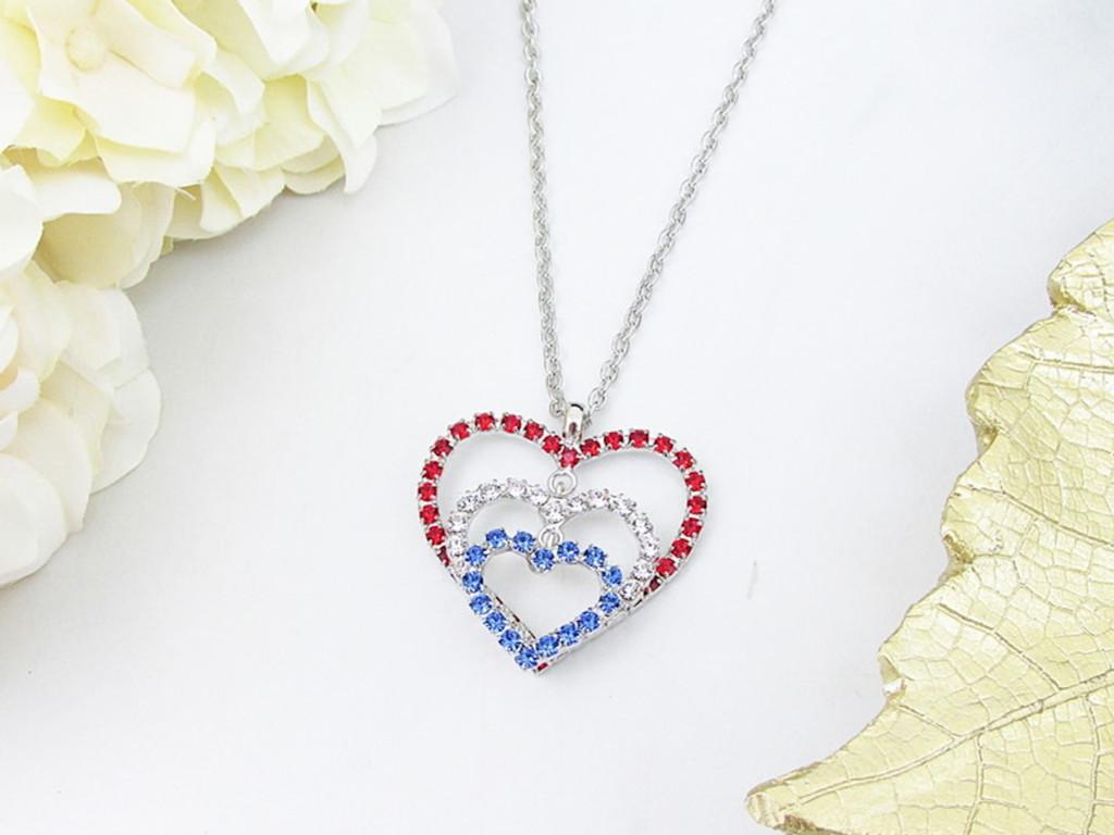 Patriotic Triple Heart Crystal Rhinestone Necklace | One Piece