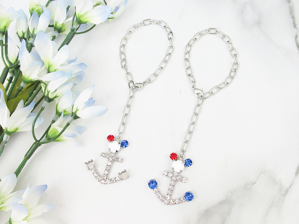 6mm | Patriotic Boy Mouse Anchor Crystal Rhinestone Bracelet | One Piece