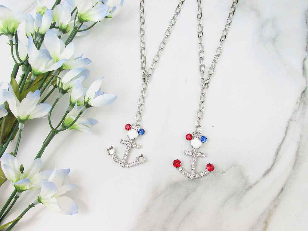 6mm | Patriotic Girl Mouse Anchor Crystal Rhinestone Necklace | One Piece