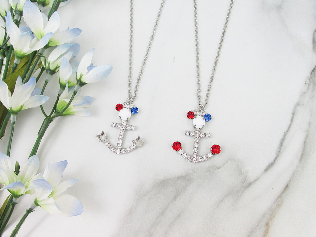 6mm | Patriotic Girl Mouse Anchor Crystal Rhinestone 30 Inch Necklace | One Piece