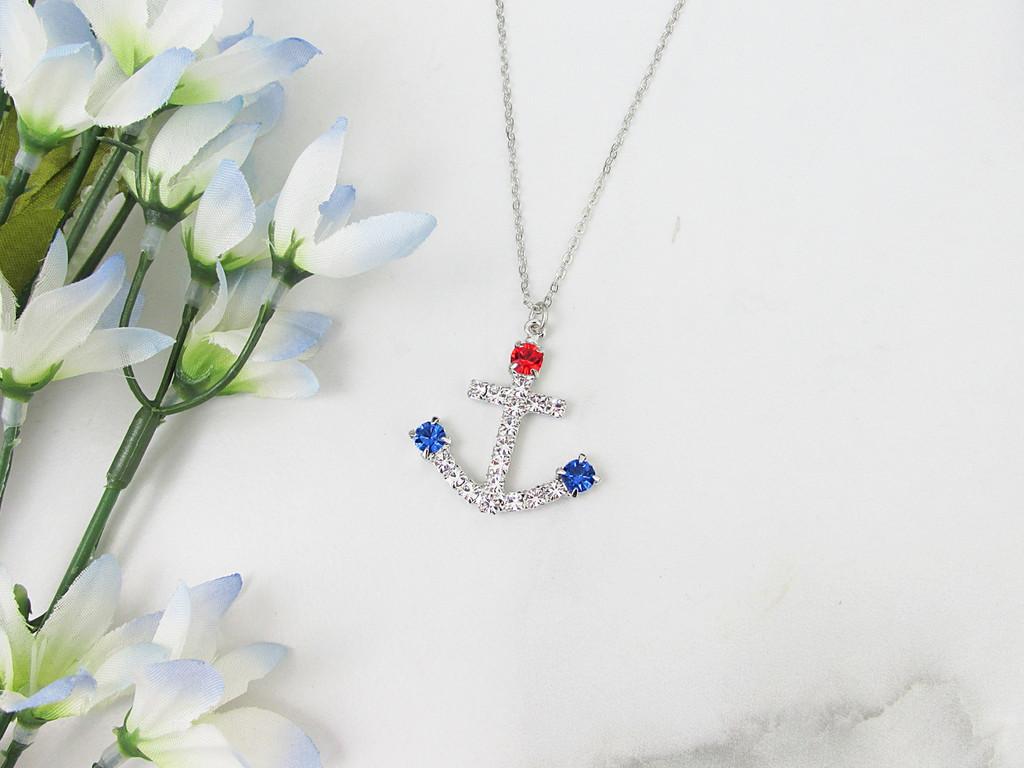 Patriotic Anchor Crystal Rhinestone Necklace | One Piece
