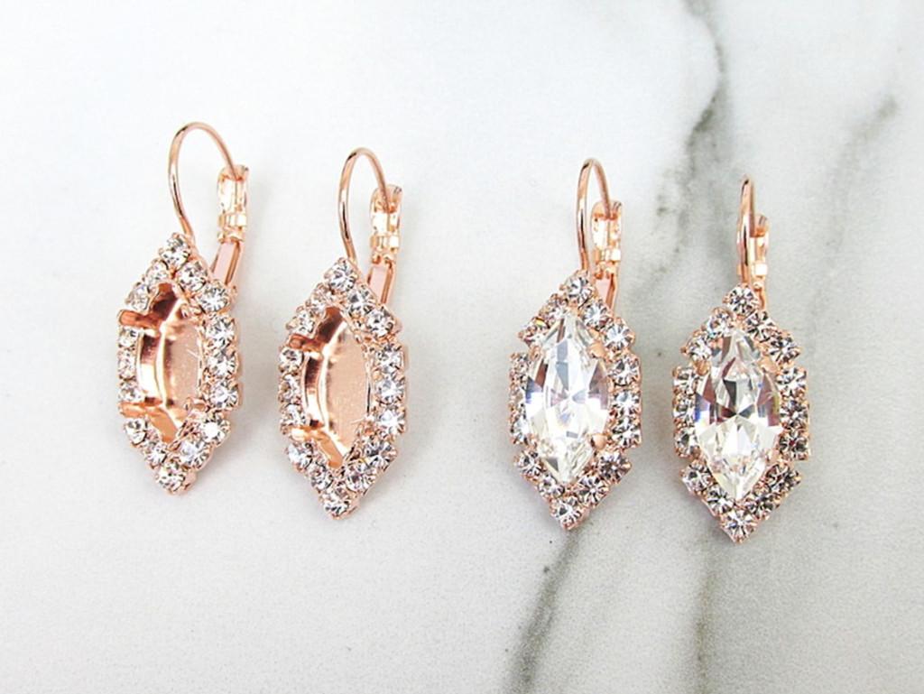 15mm x 7mm Navette   Crystal Halo Drop Earrings   One Pair