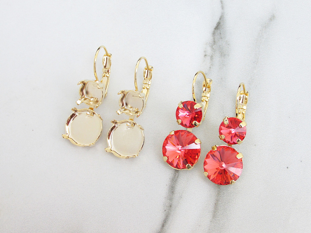 8.5mm & 12mm Round   Two Setting Drop Earrings
