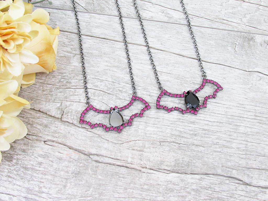 18mm x 13mm Pear | Fuchsia Crystal Rhinestone Bat Necklace | One Piece