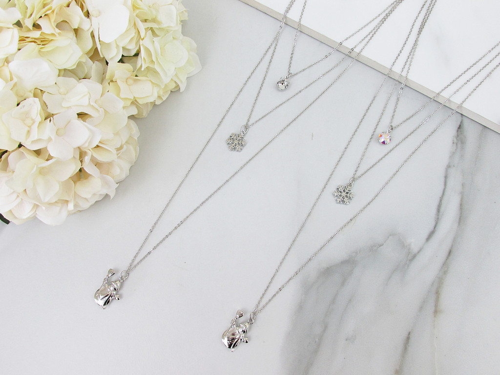 8.5mm | Layered Let It Snow Charm Necklace | One Piece
