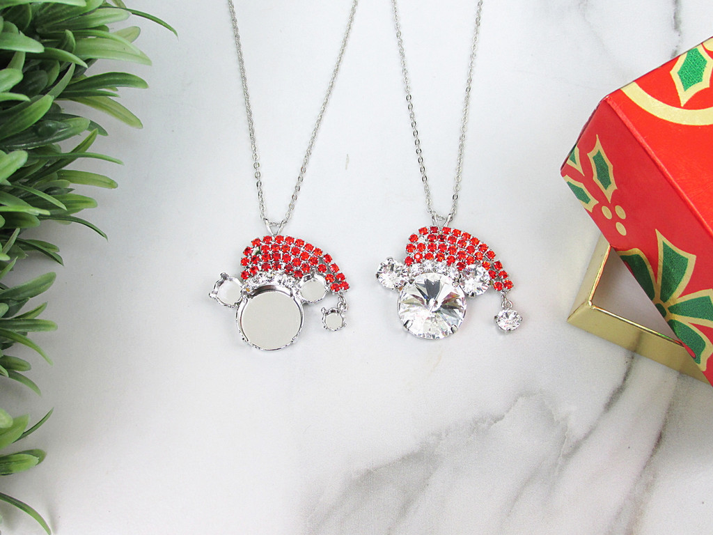 8.5mm & 18mm Round | Mouse With Santa Hat Crystal Rhinestone Necklace | One Piece