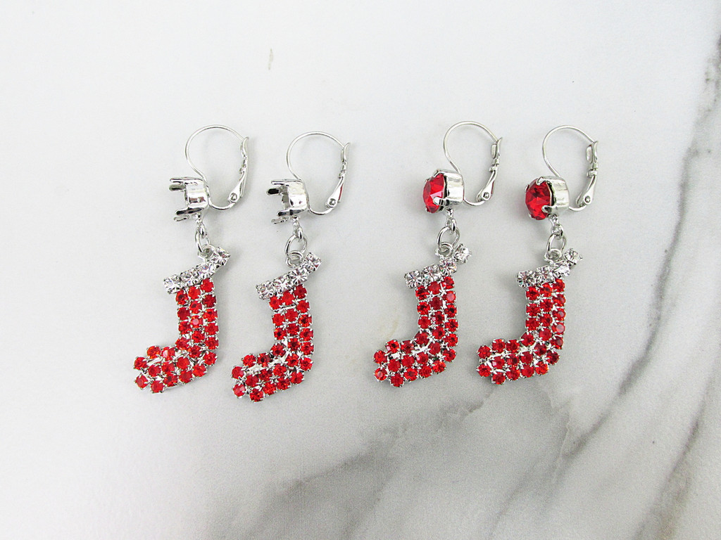 8.5mm | Christmas Stocking Crystal Rhinestone Earrings | One Pair