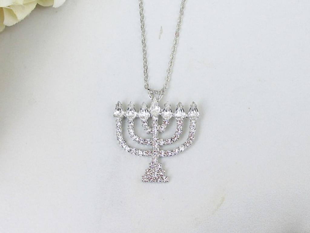 Menorah Crystal Rhinestone Necklace | One Piece