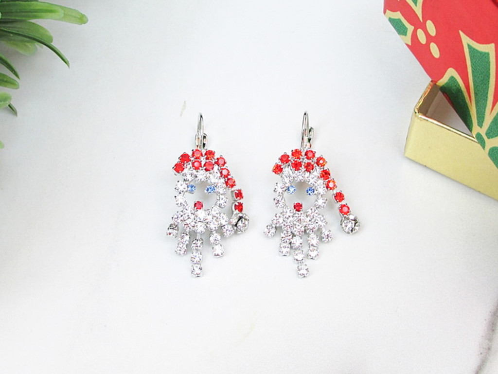 Santa Claus Crystal Rhinestone Earrings | One Pair