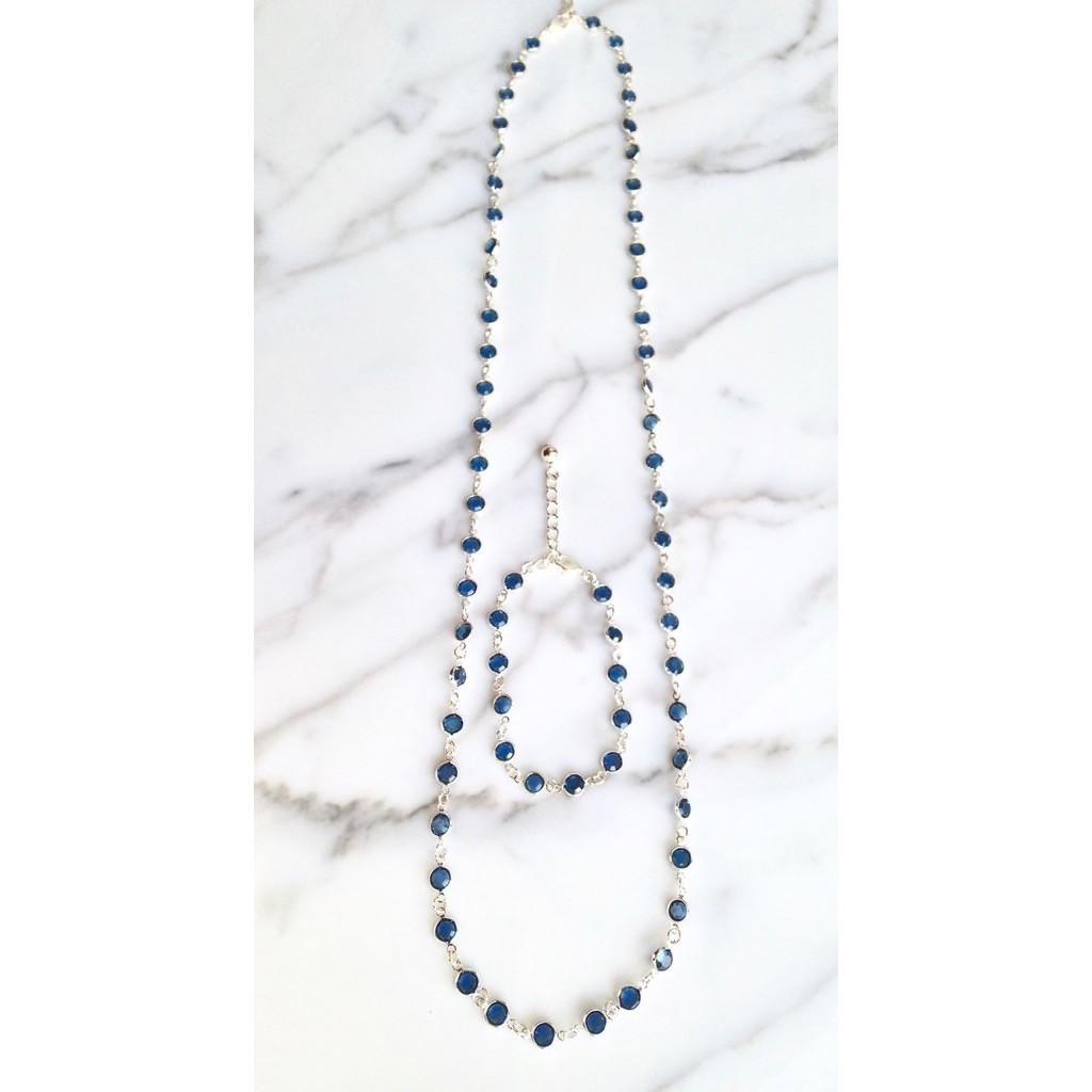 Bracelet and Necklace Set made with Swarovski Vintage Crystal Chanel Chain