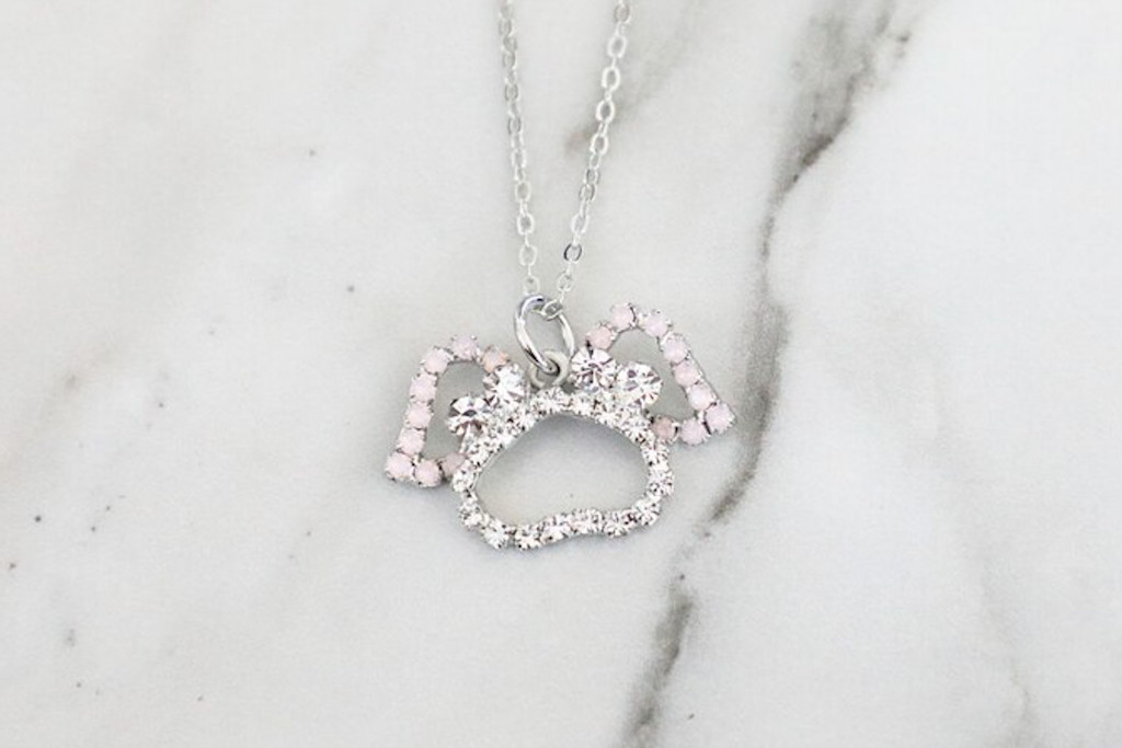 Paw Print With Angel Wings Crystal Rhinestone Necklace | One Piece