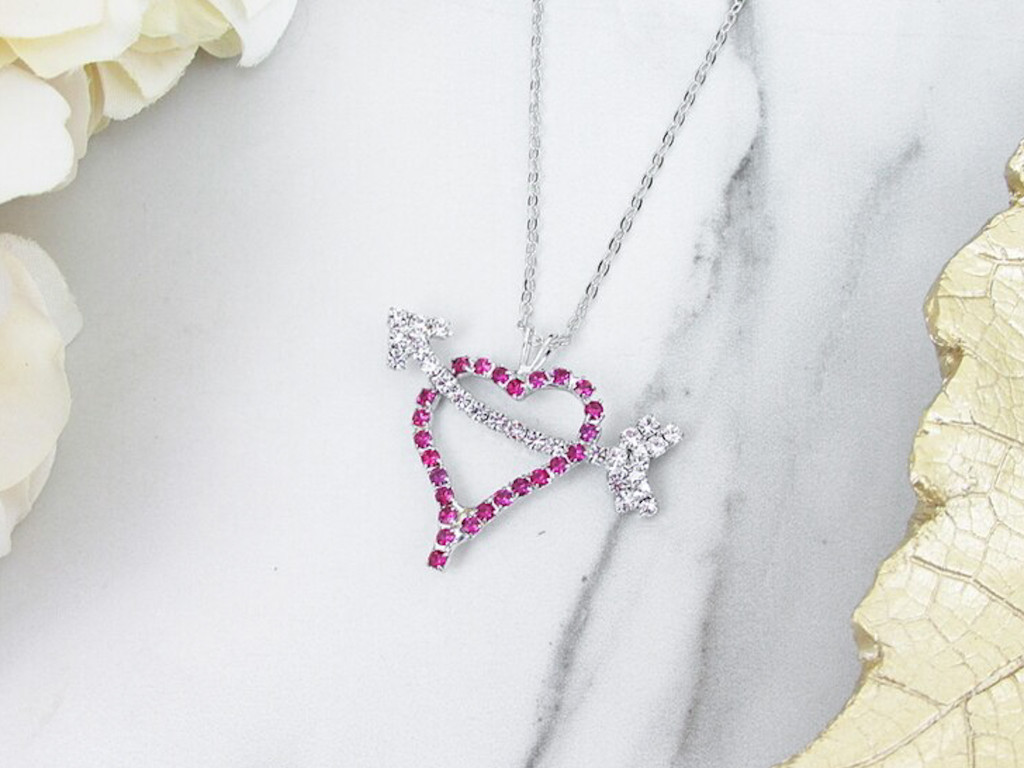 Pink Heart With Arrow Crystal Rhinestone Necklace | One Piece