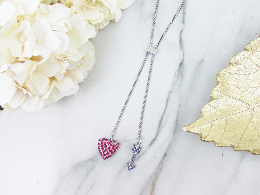 Pink Heart & Purple Arrow Rhinestone Slider Necklace | One Piece
