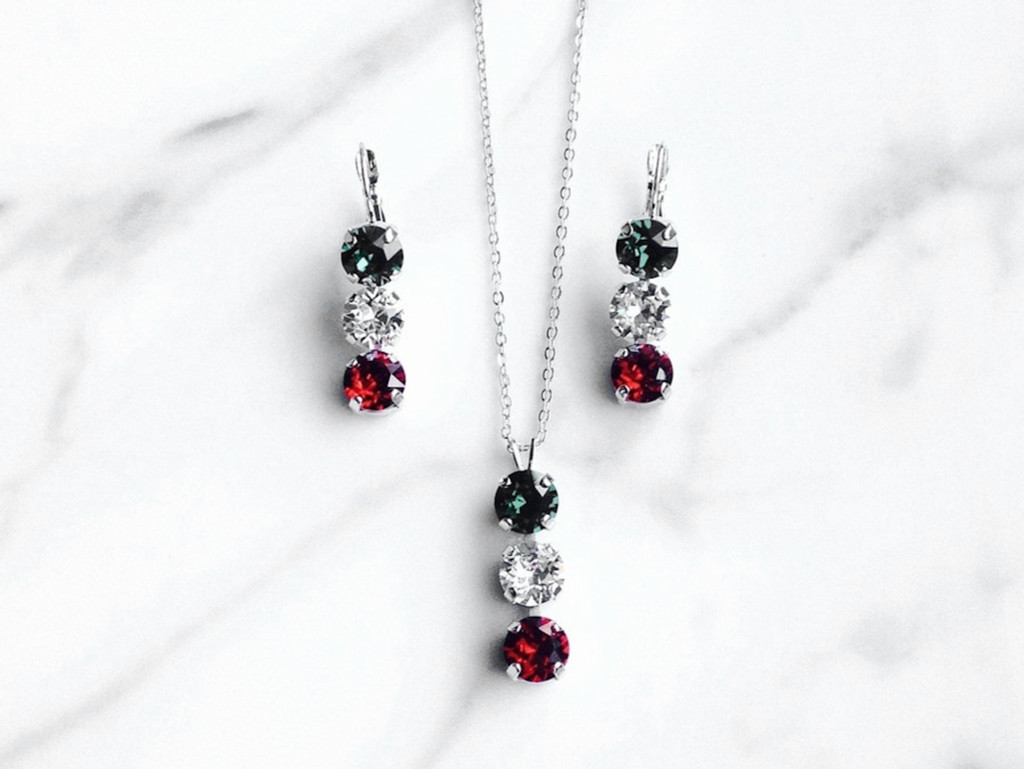 Kiss Me I'm Italian Set made with Swarovski Crystals