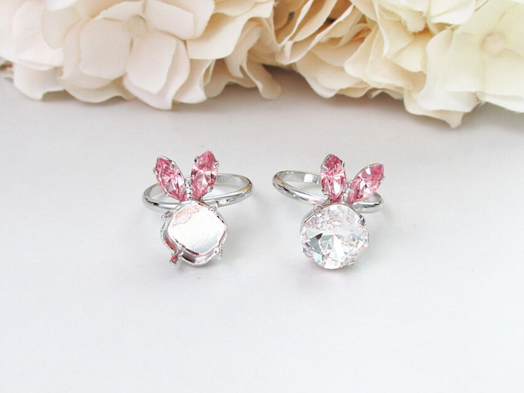 10mm Square | Bunny Crystal Rhinestone Adjustable Ring | One Piece