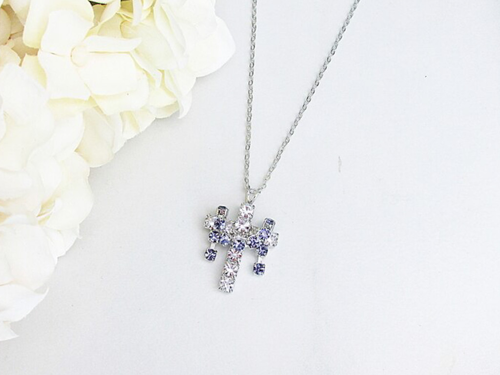 Cross With Purple Drape Crystal Rhinestone Necklace | One Piece