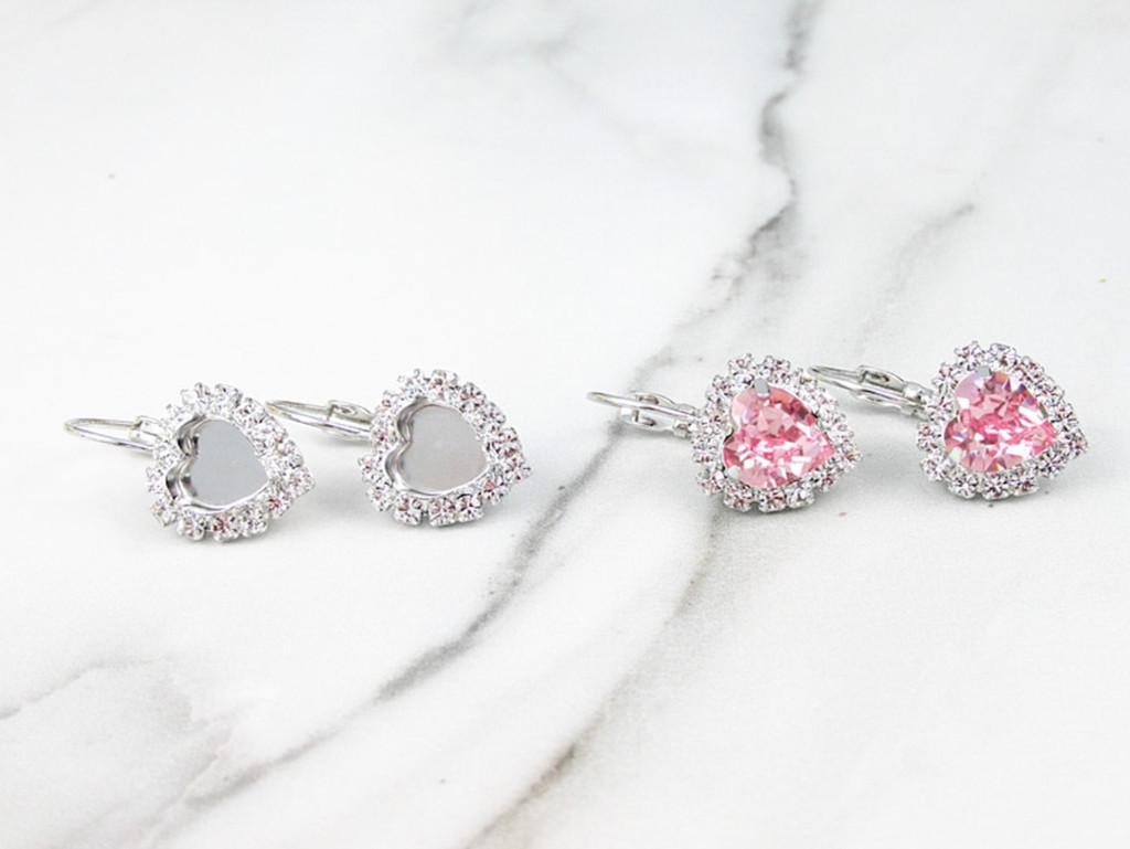 8mm Heart Crystal Halo Drop Earrings