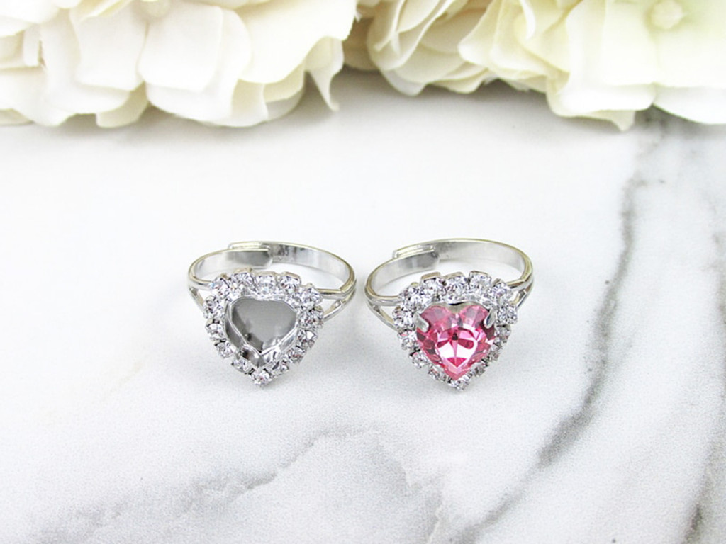 8mm Heart | Crystal Halo Classic Band Adjustable Ring | One Piece