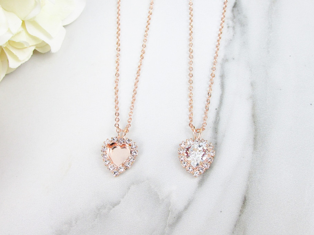 8mm Heart | Crystal Halo Single Pendant Necklace | One Piece
