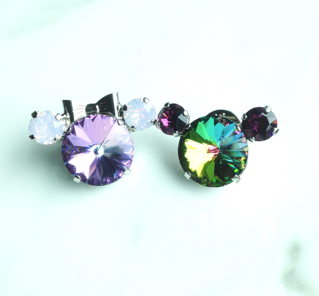 Pair of Large Mouse Pins made with Swarovski Crystals