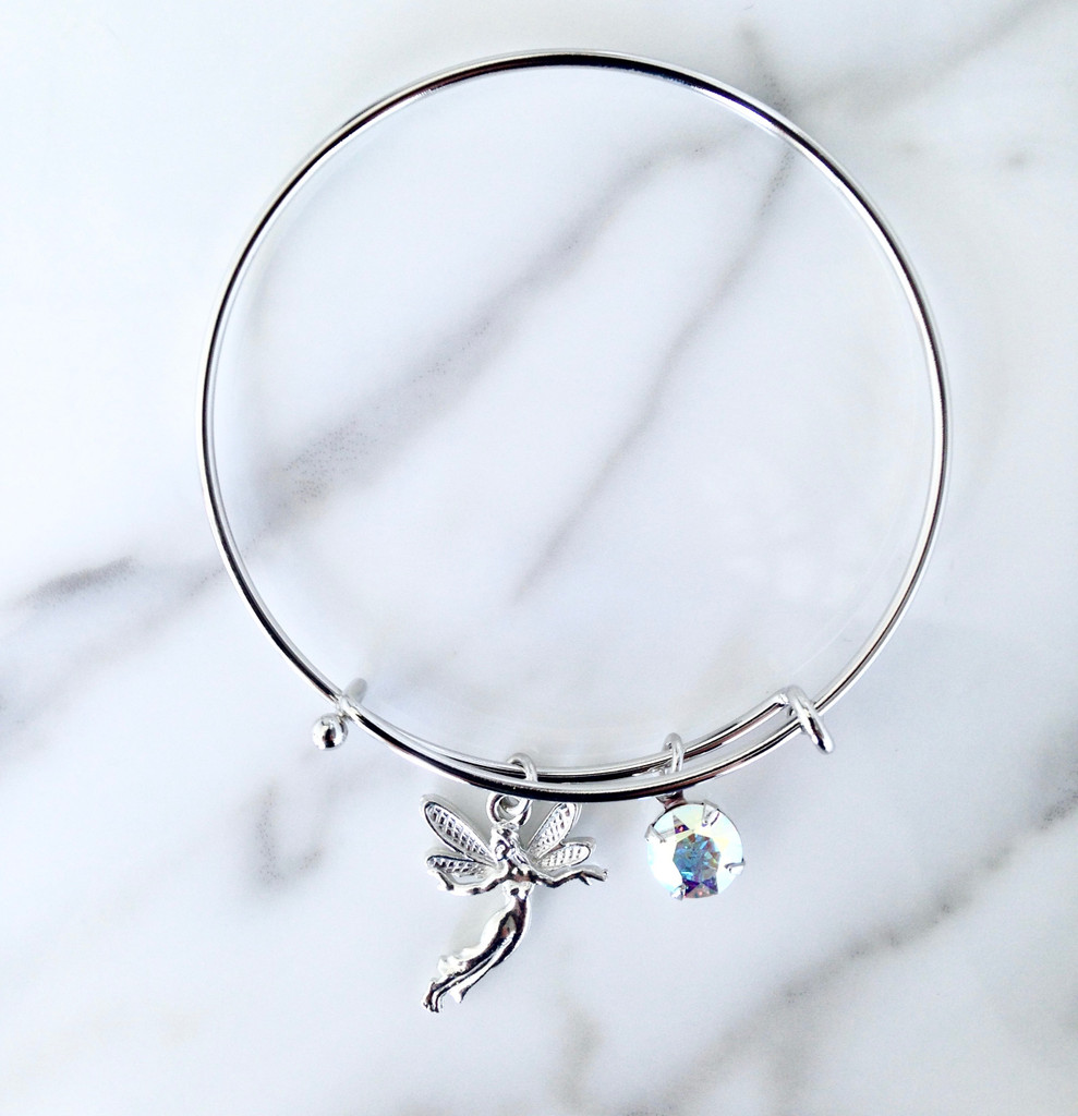 Fairy Charm Bangle made with Swarovski Crystal AB Chaton
