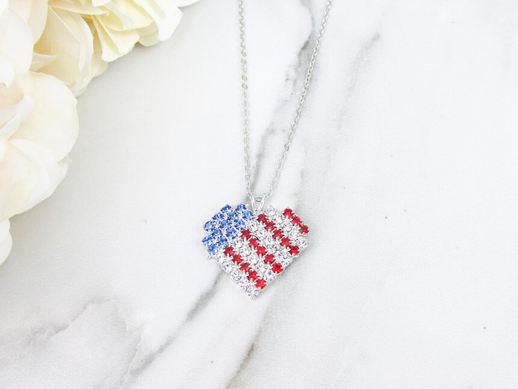 American Flag Heart Crystal Rhinestone Necklace | One Piece