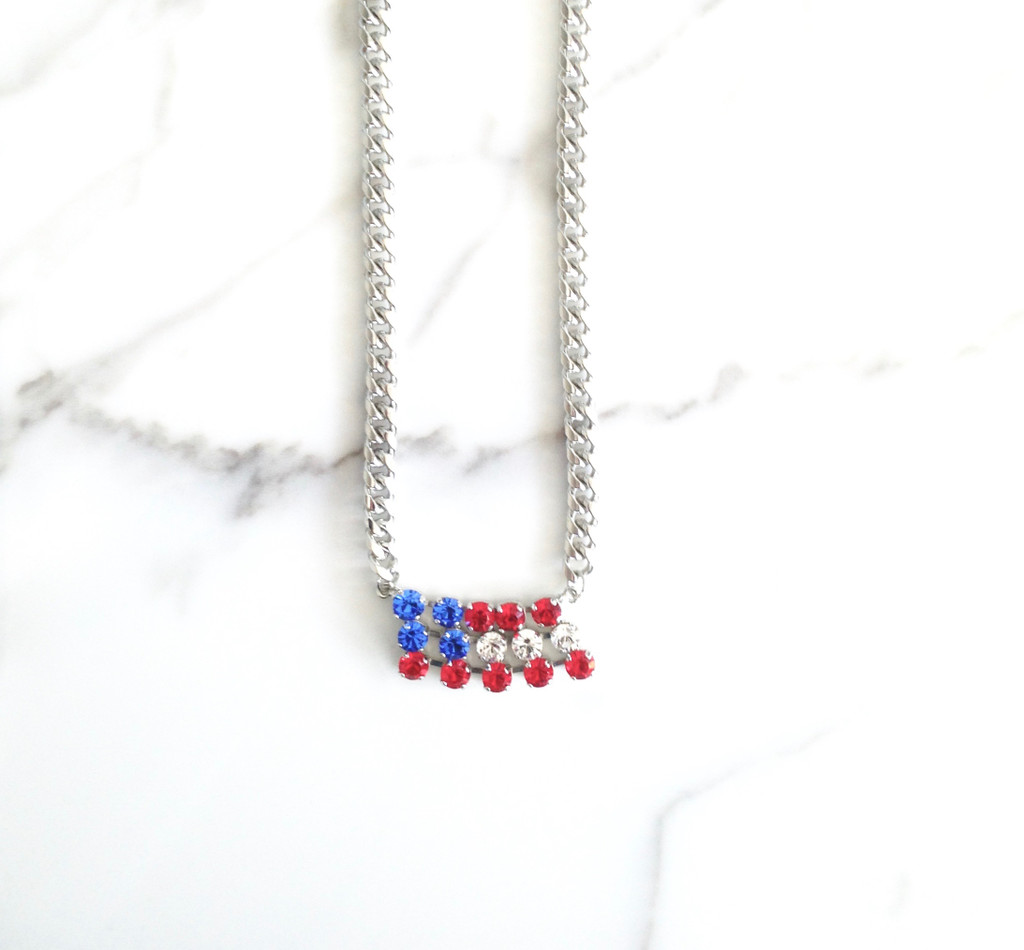 Flag Necklace on Thick Chain made with Swarovski Crystals