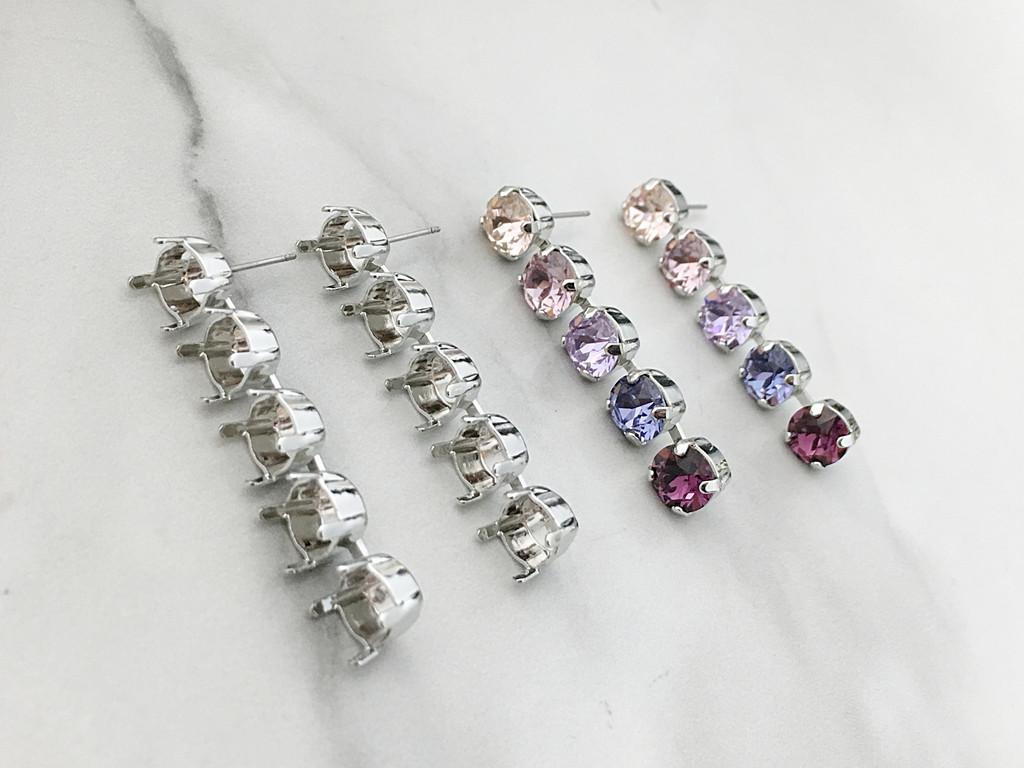 8.5mm | Five Setting Drop Stud Earrings | One Pair