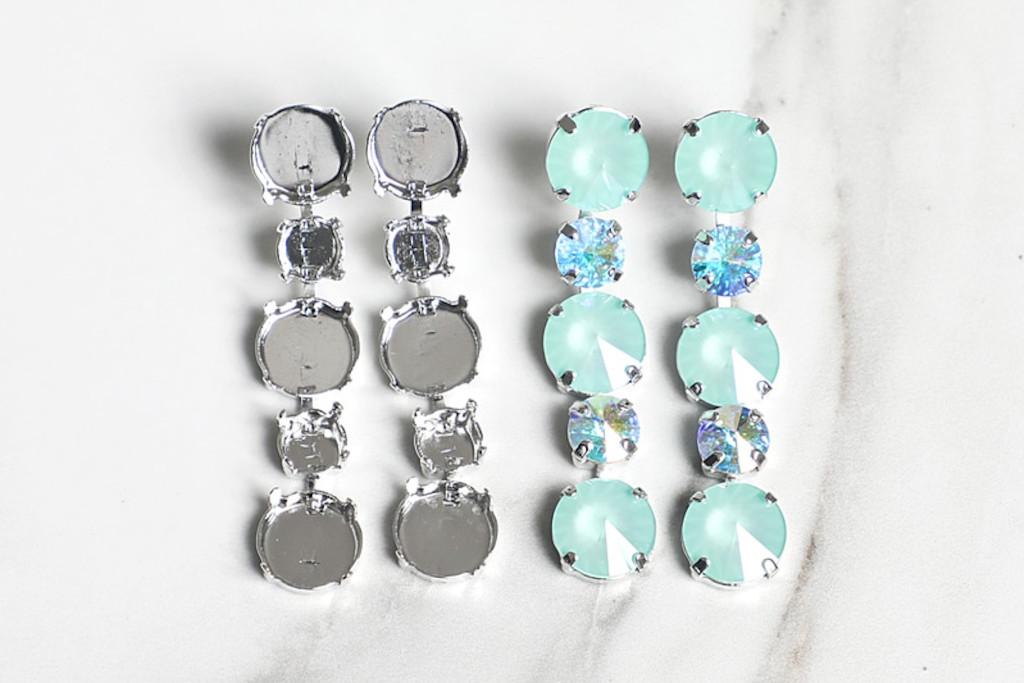 8.5mm & 12mm Round   Alternating Five Setting Drop Stud Earrings   One Pair