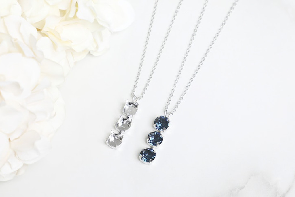 8.5mm | Three Setting Drop On Necklace Chain | One Piece