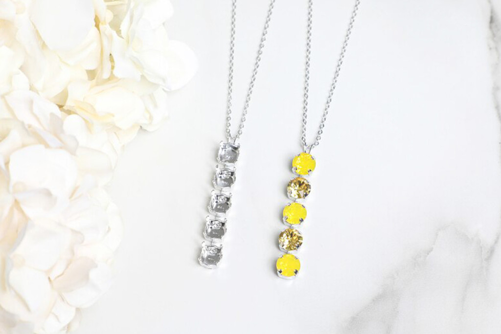 8.5mm   Five Setting Drop On Necklace Chain   One Piece