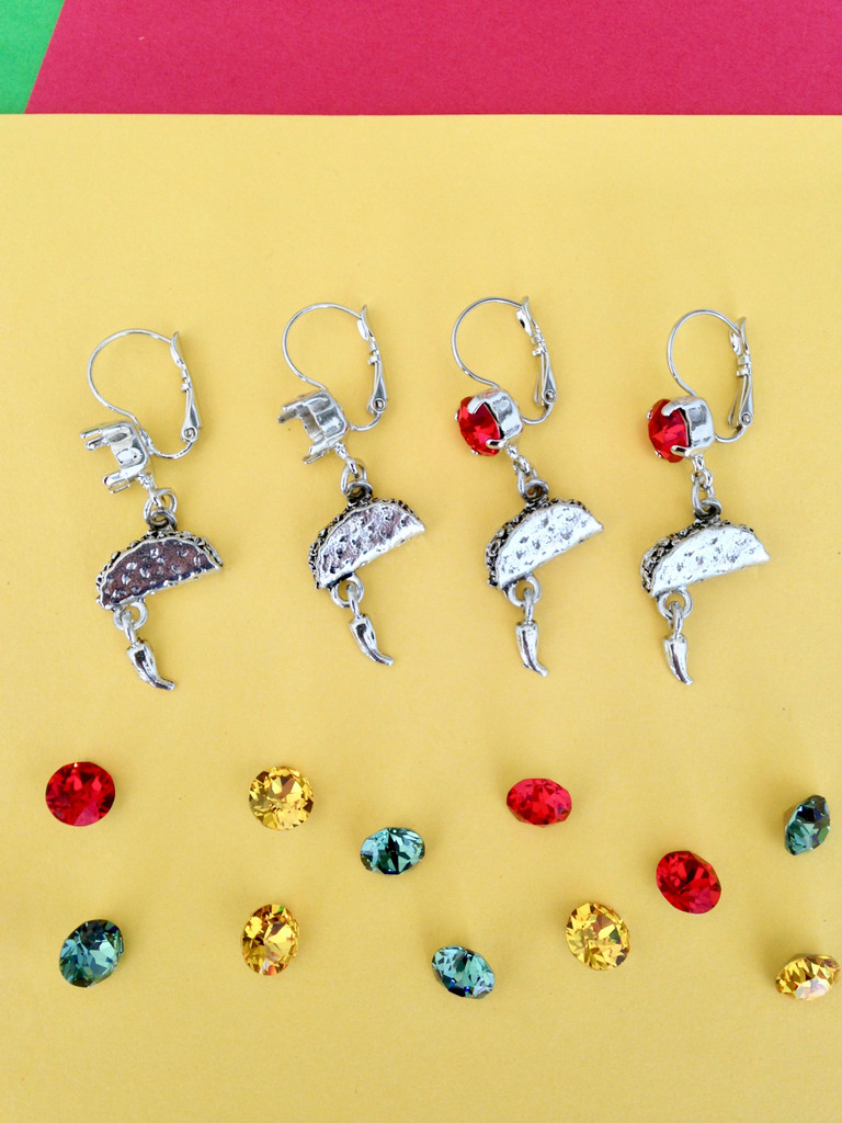 8.5mm | One Setting Drop & Taco Charm Earrings | One Pair