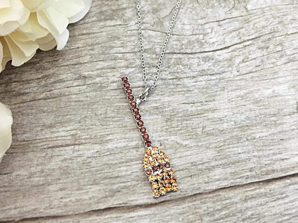 Witch's Broom Crystal Rhinestone Necklace   One Piece