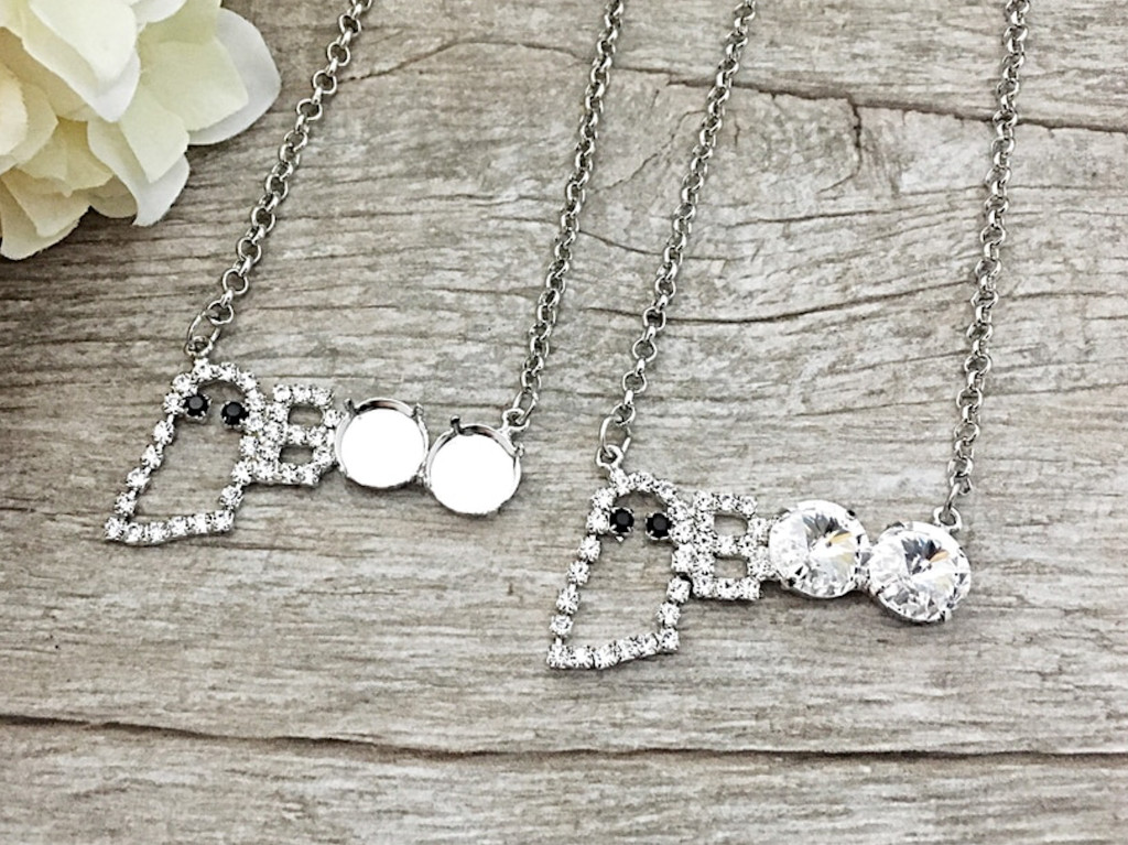 Crystal Rhinestone BOO and Ghost Necklace