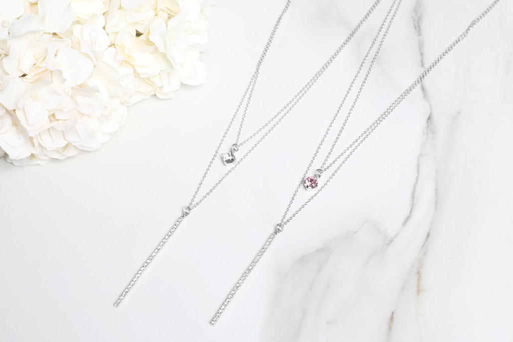 8.5mm | Layered Crystal Drop Necklace | One Piece