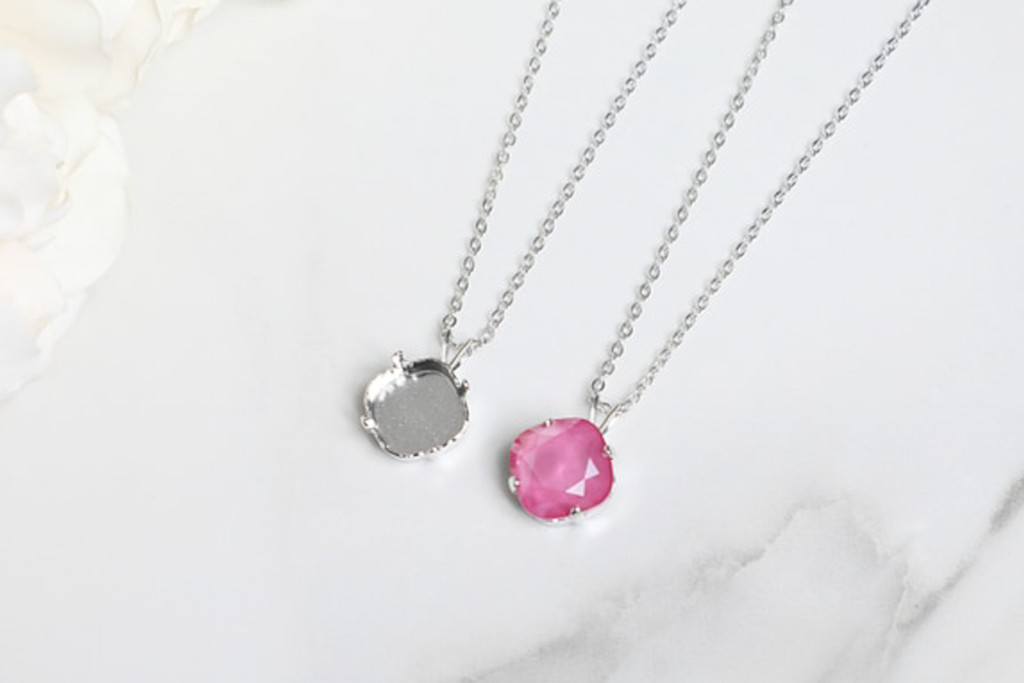 12mm Square   Single Pendant On Necklace Chain   One Piece