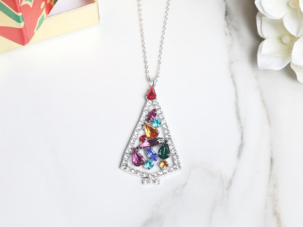 Multi Crystal Christmas Tree Necklace | One Piece