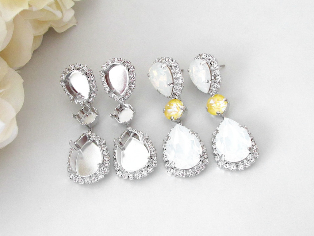 8.5mm, 14mm x 10mm Pear, & 18mm x 13mm Pear | Crystal Halo Stud Earrings | One Pair
