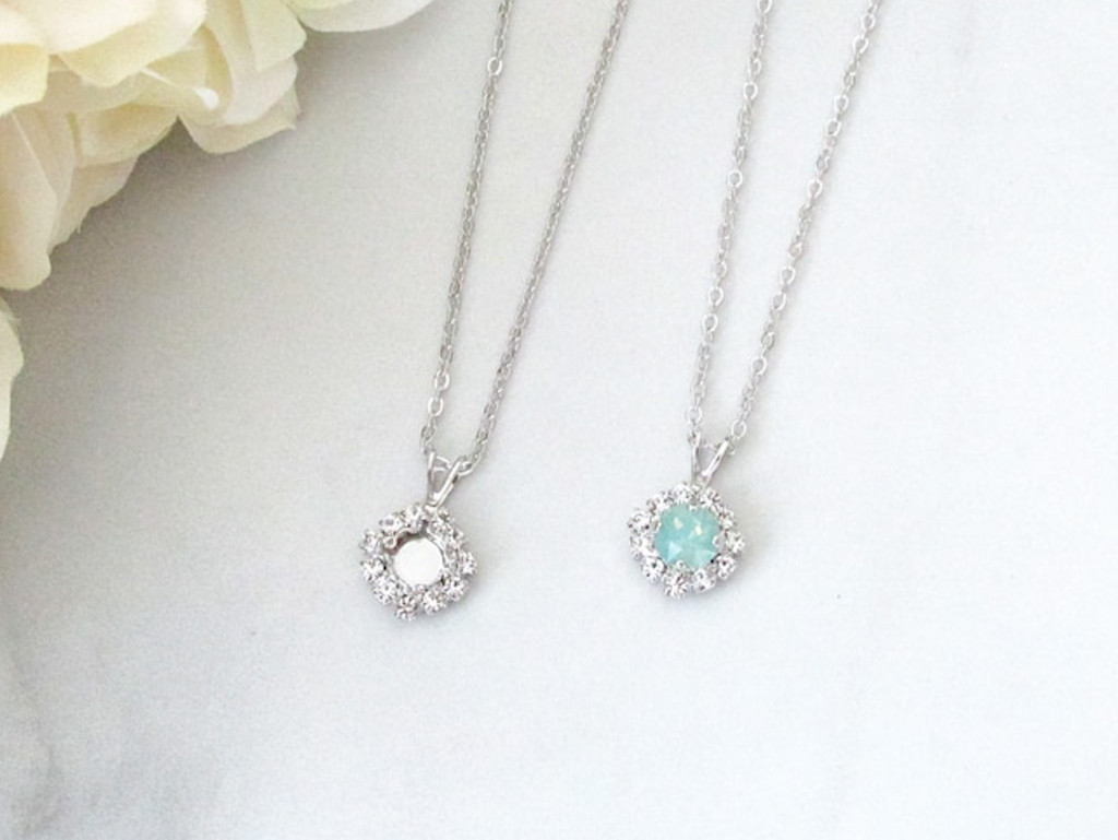6mm | Crystal Halo Single Pendant On Necklace Chain | One Piece
