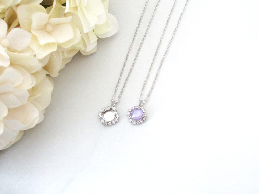 8.5mm | Crystal Halo Single Pendant On Necklace Chain | One Piece - Choose Crystal Halo Color