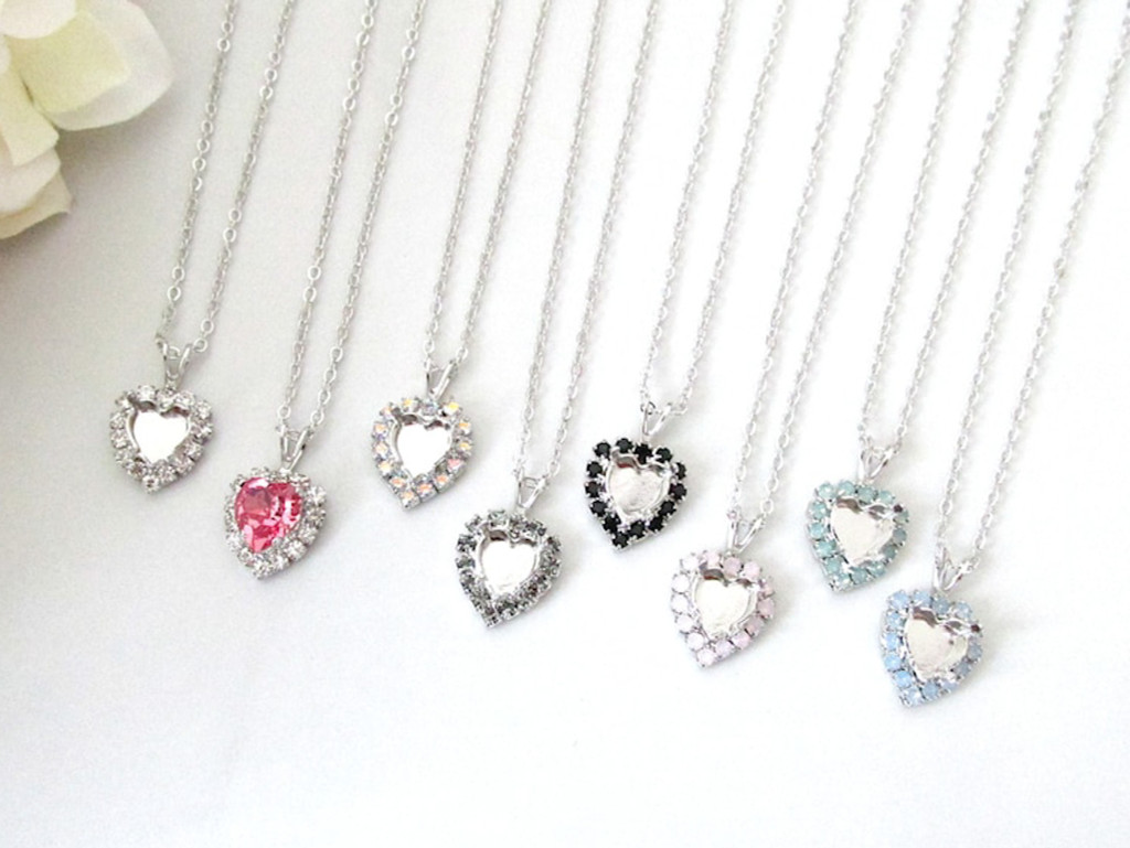 8mm Heart | Crystal Halo Single Pendant On Necklace Chain | One Piece - Choose Crystal Halo Color