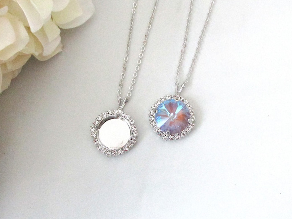 14mm Round   Crystal Halo Single Pendant On Necklace Chain   One Piece